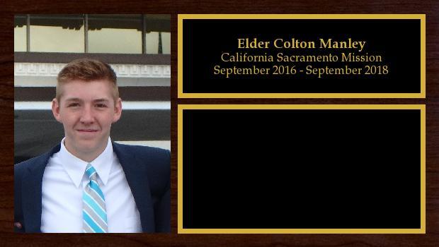 September 2016 to September 2018<br/>Elder Colton Manley