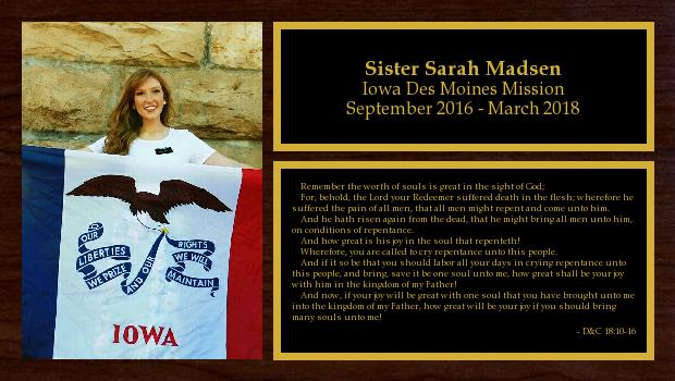 September 2016 to March 2018<br/>Sister Sarah Madsen