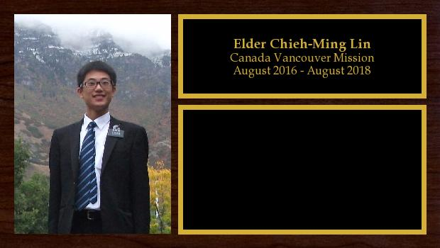 August 2016 to August 2018<br/>Elder Chieh-Ming Lin