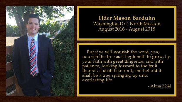August 2016 to August 2018<br/>Elder Mason Barduhn