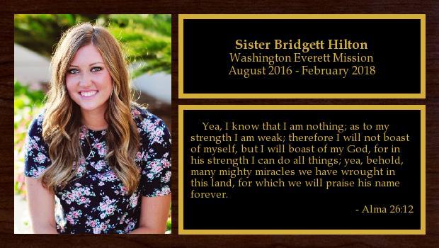 August 2016 to February 2018<br/>Sister Bridgett Hilton