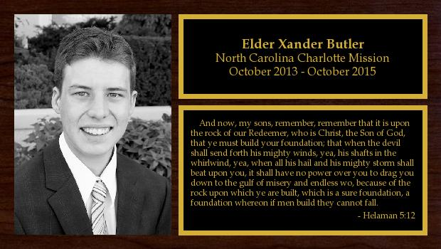 October 2013 to October 2015<br/>Elder Xander Butler