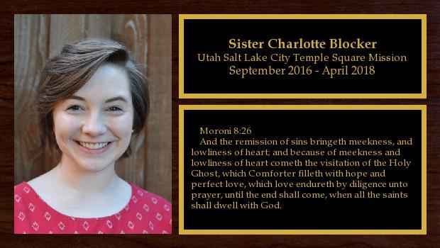 September 2016 to April 2018<br/>Sister Charlotte Blocker