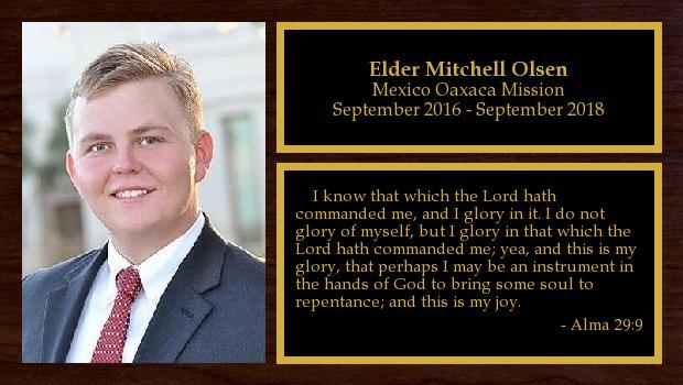 September 2016 to September 2018<br/>Elder Mitchell Olsen
