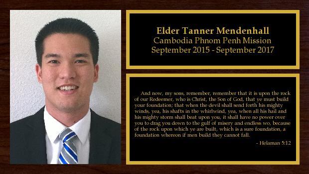 September 2015 to October 2017<br/>Elder Tanner Mendenhall