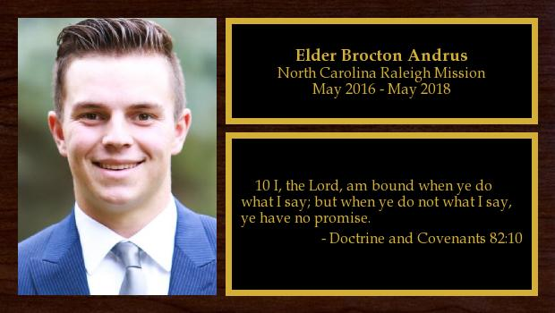May 2016 to May 2018<br/>Elder Brocton Andrus