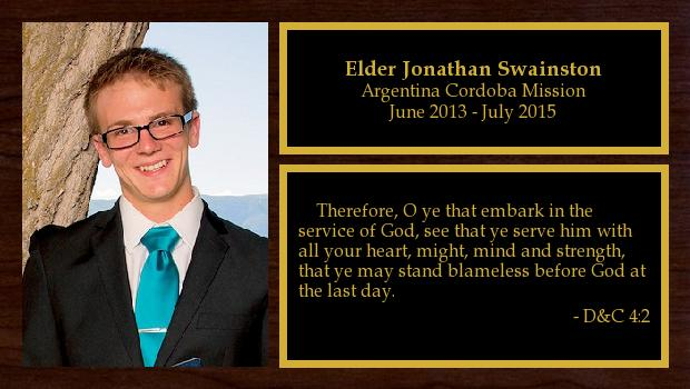 June 2013 to July 2015<br/>Elder Jonathan Swainston