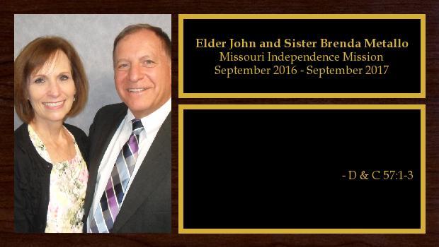 September 2016 to September 2017<br/>Elder John and Sister Brenda Metallo