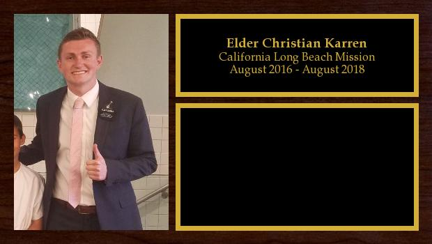 August 2016 to August 2018<br/>Elder Christian Karren