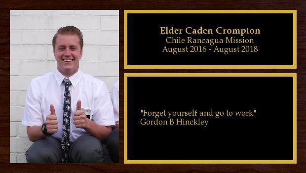 August 2016 to August 2018<br/>Elder Caden Crompton