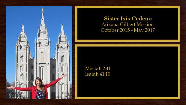 October 2015 to May 2017<br/>Sister Isis Cedeño