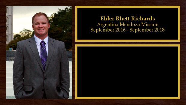 September 2016 to September 2018<br/>Elder Rhett Richards