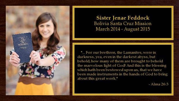 March 2014 to August 2015<br/>Sister Jenae Feddock