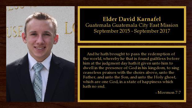 September 2015 to September 2017<br/>Elder David Karnafel
