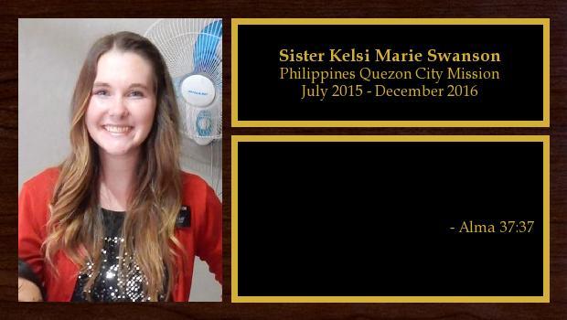 July 2015 to December 2016<br/>Sister Kelsi Marie Swanson