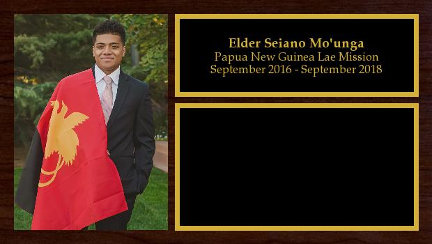 September 2016 to September 2018<br/>Elder Seiano Mo'unga