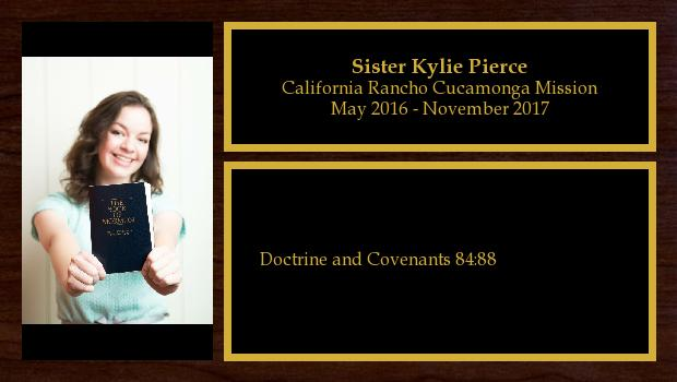 May 2016 to October 2017<br/>Sister Kylie Pierce