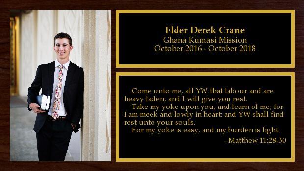 October 2016 to October 2018<br/>Elder Derek Crane