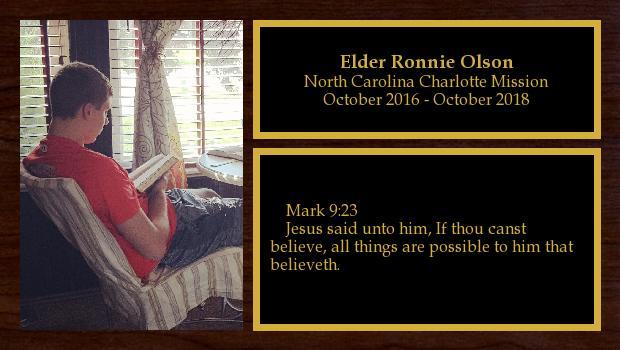 October 2016 to October 2018<br/>Elder Ronnie Olson