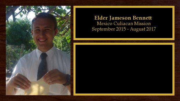 September 2015 to August 2017<br/>Elder Jameson Bennett