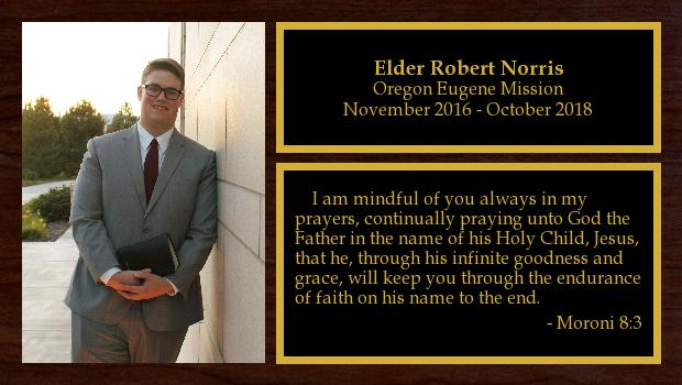 November 2016 to October 2018<br/>Elder Robert Norris