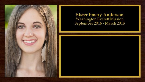 September 2016 to March 2018<br/>Sister Emery Anderson