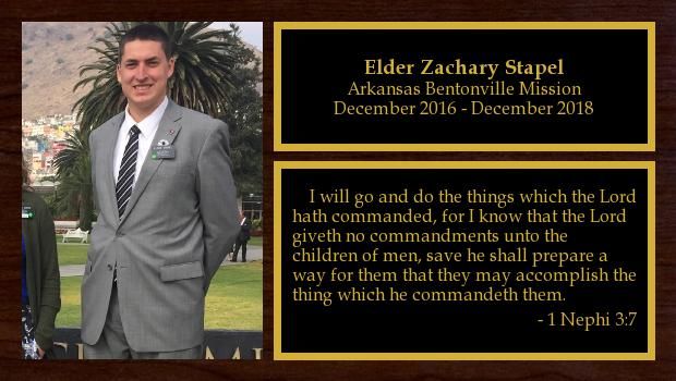 December 2016 to December 2018<br/>Elder Zachary Stapel