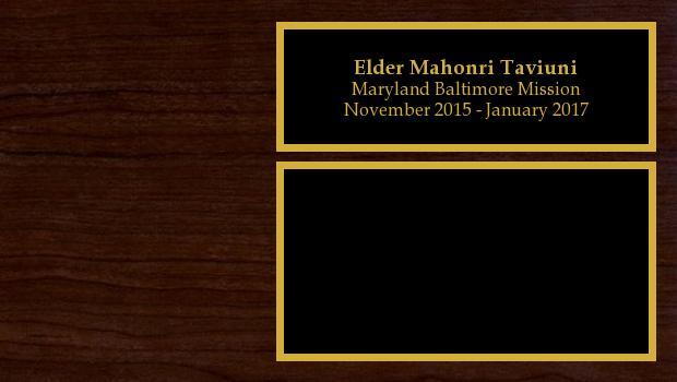 November 2015 to January 2017<br/>Elder Mahonri Taviuni