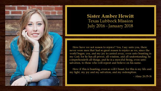 July 2016 to January 2018<br/>Sister Amber Hewitt
