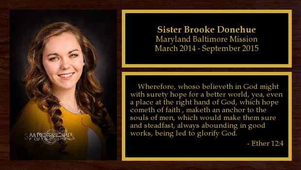 March 2014 to September 2015<br/>Sister Brooke Donehue