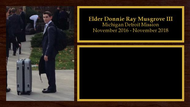 November 2016 to November 2018<br/>Elder Donnie Ray Musgrove III