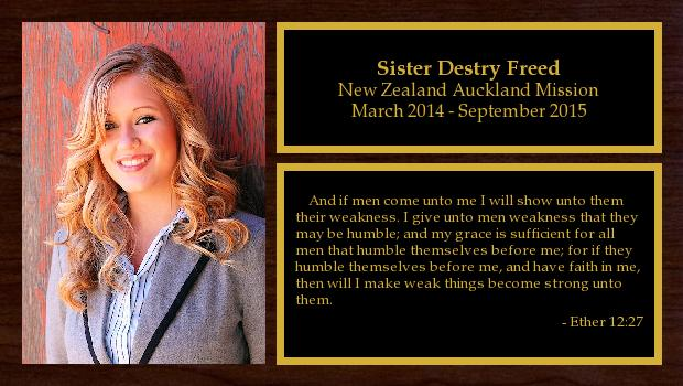 March 2014 to September 2015<br/>Sister Destry Freed