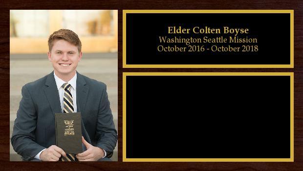 October 2016 to March 2018<br/>Elder Colten Boyse