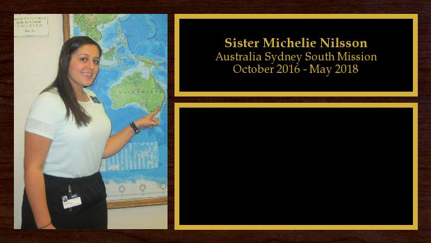October 2016 to May 2018<br/>Sister Michelie Nilsson
