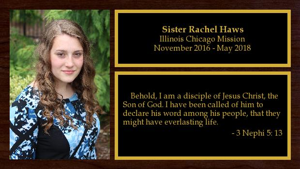 November 2016 to May 2018<br/>Sister Rachel Haws