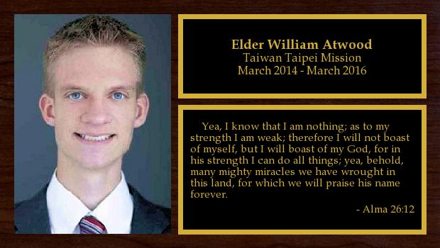 March 2014 to March 2016<br/>Elder William Atwood