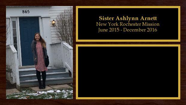 June 2015 to December 2016<br/>Sister Ashlynn Arnett
