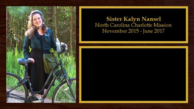 November 2015 to May 2017<br/>Sister Kalyn Nansel