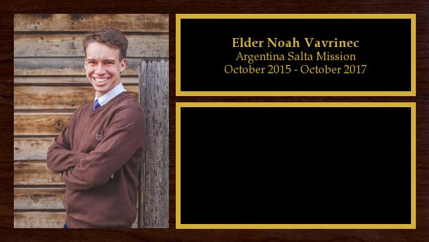 October 2015 to November 2017<br/>Elder Noah Vavrinec