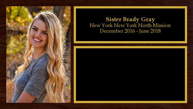 December 2016 to June 2018<br/>Sister Brady Gray