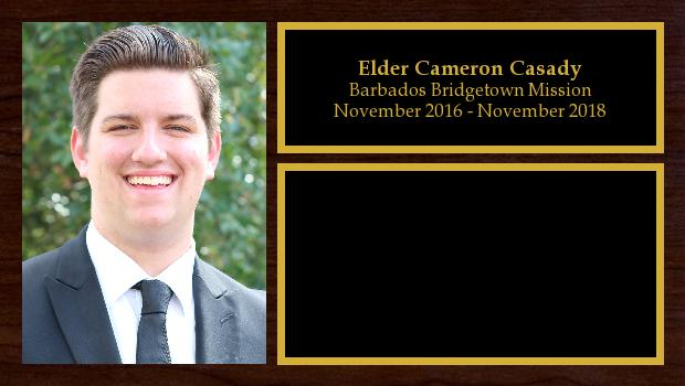 November 2016 to November 2018<br/>Elder Cameron Casady