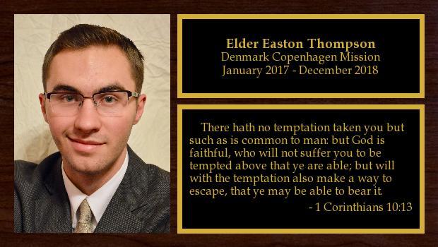 January 2017 to December 2018<br/>Elder Easton Thompson