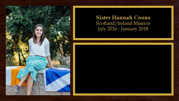 July 2016 to January 2018<br/>Sister Hannah Coons