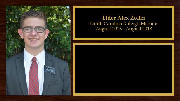 August 2016 to August 2018<br/>Elder Alex Zoller
