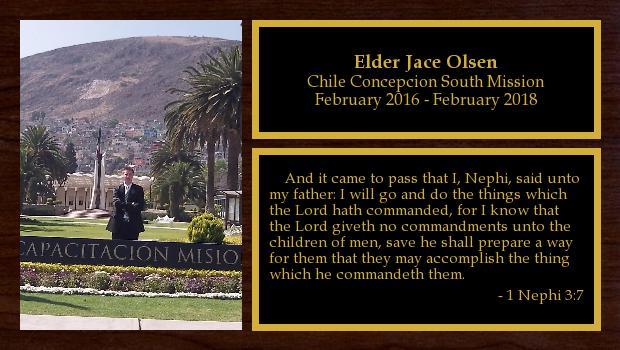 February 2016 to February 2018<br/>Elder Jace Olsen