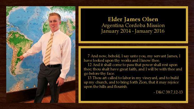 January 2014 to January 2016<br/>Elder James Olsen