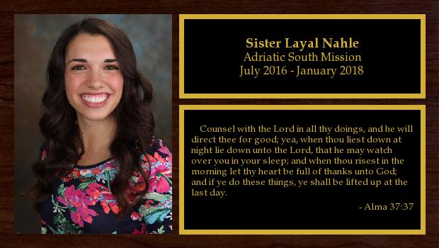 July 2016 to January 2018<br/>Sister Layal Nahle