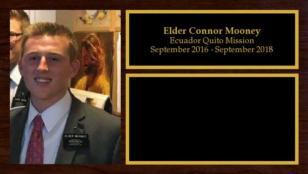 September 2016 to August 2018<br/>Elder Connor Mooney