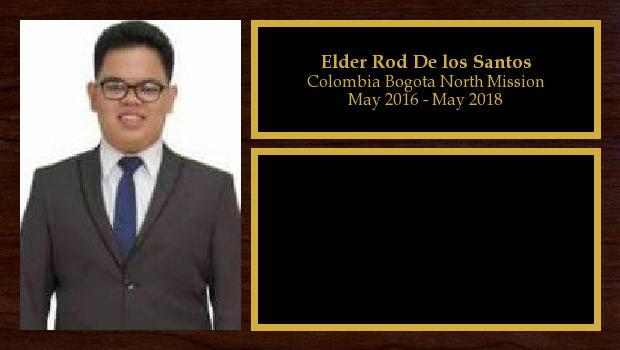 May 2016 to May 2018<br/>Elder Rod De los Santos