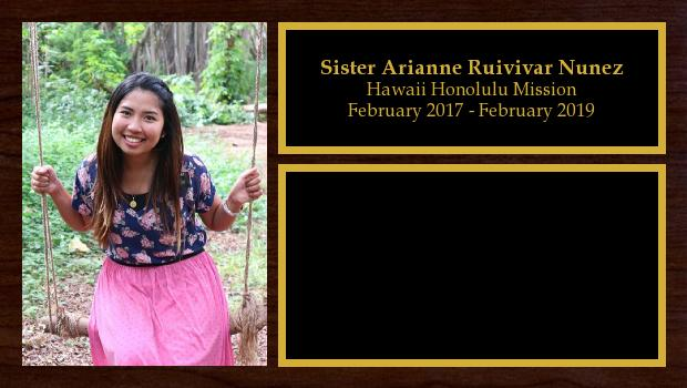 February 2017 to February 2019<br/>Sister Arianne Ruivivar Nunez